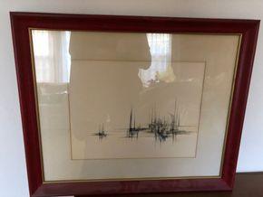 Lot 041 Modernist Boat Scene Ink signed by John McDaniel framed 22W x 19H x 1D PICK UP IN NORTH BABYLON