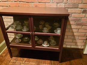 Lot 008 Glass Door Bar Cart/Glass Door 2 Shelf Cabinet Contents Not Included PICK UP IN NEW HAVEN, CT