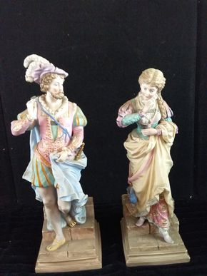 Lot 013 Pair of Antique Chelsea Porcelain Figurines 16 inches Tall Finger Broken