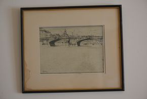 Lot 032 Delivery Signed Etching of The Bridges,Florence By Ernest David Roth signed and dated framed 54.5H x 9W x  PICK UP IN ROCKVILLE CENTRE