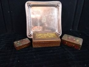 Lot 045 Lot of 3 Persian Lacquer Boxes on a silver plated tray