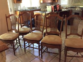 Lot 014 Lot of 6 Wood Chairs With Upholstered Seats 42H x 18w x 20L PICK UP IN CENTERPORT
