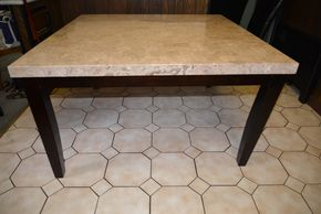 Lot 001 Wood/Stone DiningTable 31H x 54W x 54L PICK UP IN FLORAL PARK, NY