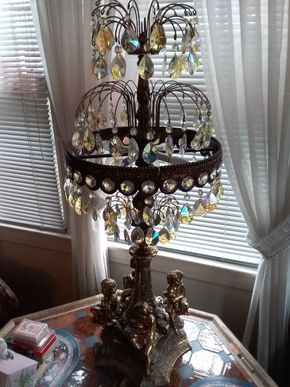 Lot 001 Decorative White Metal Cherub Lamp 41 Inches Tall PICK UP IN FLORAL PARK