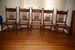 Lot 004 Lot of 5 Wood Chairs  40H x 18W x 16.5 L PICK  UP IN ROCKVILLE CENTRE