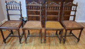 Lot 011 Lot of 4 Vintage Wood Chairs 35.5H x 17.25W x 15.5D PICK UP IN WEST ISLIP, NY