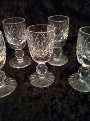 Lot 014 Lot Of 5 Waterford Cordial Glasses 3.5 Inches Tall PICK UP IN GARDEN CITY