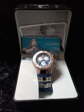 Lot 044 Aquaswiss Blue and Silver Watch PICK UP IN GARDEN CITY