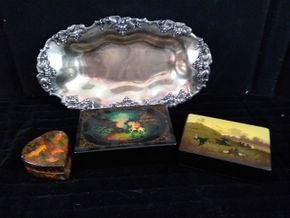 Lot 044 Lot of 3 Russian Lacquer Boxes on a silver plated tray