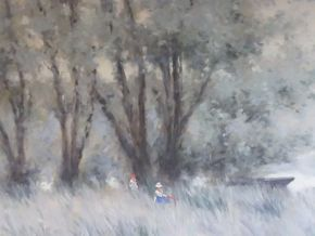 Lot 039 Andre Gisson Oil On Canvas Figures On a Field 24 x 30 PICK UP IN MANHASSET