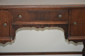 Lot 035 Wood Desk 2 Cabinet /1 Drawer 28H x 35W x 16.5L PICK UP IN GLEN COVE, NY