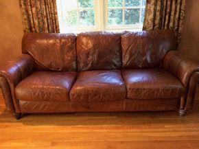 Lot 009 3 Seat Leather Couch AS IS 34H x 43W x 91 L PICK UP IN CENTERPORT