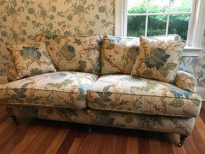 Lot 058 Safavieh Custom Fabric 2 Seat Sofa 38H x 41W x 74L PICK UP IN LAWRENCE