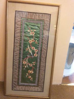 Lot 081 Framed Silk Asian Scroll 28.5 x 14.5 PICK UP IN WEST HEMPSTEAD