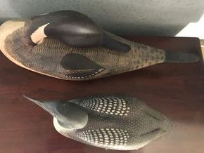 Lot 009 Pair of Contemporary Duck Decoys PICK UP IN RVC 15L x 7H and 10L x 5H