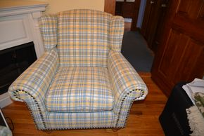 Lot 031 Delivery Home Wear Co. Upholstered Arm Chair w/Nail Head Trim 40H x 31W x 31.625 PICK UP IN MALVERNE, NY