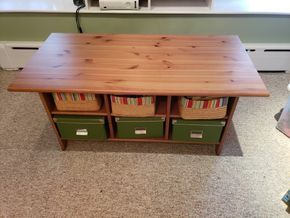 Lot 032 Ikea 6 Storage  Compartment  Coffee Table  20.5H x 46.5W x 23D PICK UP IN GARDEN CITY, NY