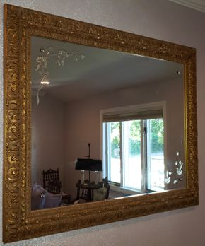 Lot 007 PU-PAY AT TAG SALE Framed Wall Mirror 38.375H x 48W PICK UP IN WEST ISLIP, NY