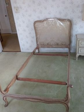 Lot 019 Twin Size Wood and Upholstered Headboard and Bed Frame PICK UP IN GARDEN CITY