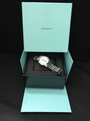 Lot 016 Tiffany Mens Stainless Steel Quartz Watch. 6.75 Overall Wrist Size. PICK UP IN STONY BROOK.