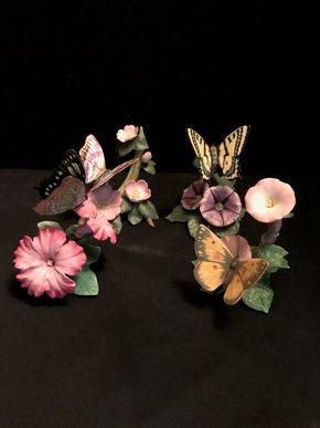 Lot 064 Lot of 4 Lenox Butterfly Figurines. Malachite 5 In. T. Orange Culhphur 4 In. T. Swallowtail 4.5 In. T. Purple Emperor 3.75 In. T. PICK UP IN BELLMORE.