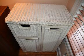 Lot 010 Wicker Storage Cabinet 32H x 24W x 13.5L PICK UP IN MALVERNE,NY