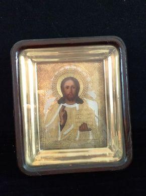 Lot 023  Antique Icon Shadow Box w/Gold Leaf Liner 10L x 21.5x 8.5W