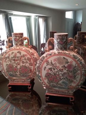 Lot 055 Pair Of Chinese Moonflask Vases 18H x 3.5Wx 13 PICK UP IN OLD BROOKVILLE