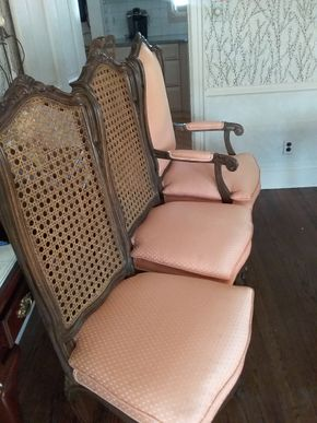 Lot 010 Lot Of 6 Caned and Upholstered Chairs. 4 Side and 2 Arm 47 x 18 x 21 .5 PICK UP IN ROCKVILLE CENTRE