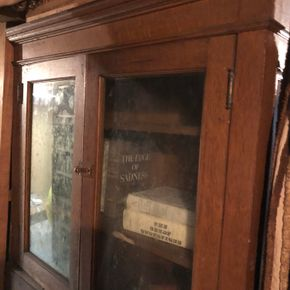 Lot 034 Pair of Antique Old Bookcases w/Glass Doors 36W x 10D x 72H PICK UP IN NORTH BABYLON