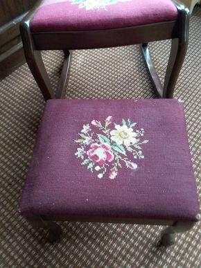 Lot 073 Antique Needlepoint Rocker and Stool Rocker 30H x 16W x 17L Stool 11H x 14W X 12L PICK UP IN OLD WESTBURY