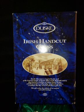 Lot 028 Duiske Irish Handcut Glass 3pc. Set. Includes Crystal Mini Decanter 5.75H w/Stopper, 2 Shot Glass 2.5H x 1.75D In Box PICK UP IN COMMACK,NY