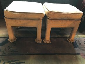 Lot 089 Pair of Upholstered Stools Some Damage  17H x 16W Poor condition not matching