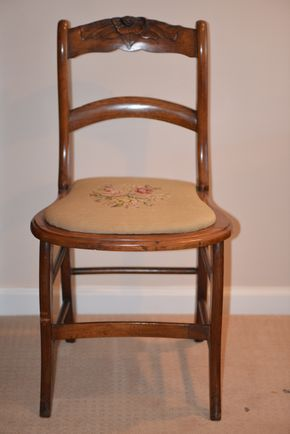 Lot 006 Wood Chair Needle Point Cushion 31 6.25H x 17.5W x 17L PICK UP IN GLEN COVE, NY