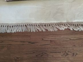 Lot 011 Cream Colored Rug. AS IS fringe Separating and  Some Stains 10.5 x 14.5 PICK UP IN MANHASSET