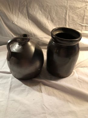Lot 014 Lot of 2 Antique Salt Glazed Jugs 4W x 5L