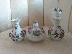 Lot 023 1950's Lefton Porcelain Vanity Set Missing One Top PICK UP IN N MASSAPEQUA