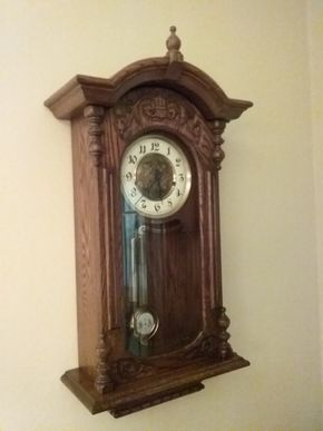 Lot 031 Carved Wood Wall Clock 29.5 x 14 x 46 PICK UP IN GARDEN CITY