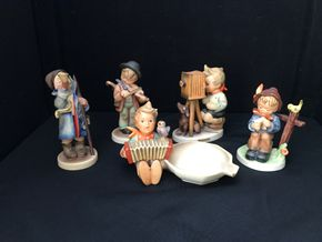 Lot 002 Lot Of Five Assorted Boy Hummels. Hummel Hear Ye Hear Ye Little Boy With Horn 5.25H, Hummel Boy With Umbrella Playing A Violin 4.75H, Hummel Boy With Accordion And Bird 4H  PICK UP IN STONY BROOK