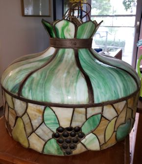 Lot 004 CC-PU At Tag Sale/ Large Vintage Tiffany Style Hanging  Light Fixture Chandelier Fruit Leaf Motiff PICK UP IN MINEOLA,NY