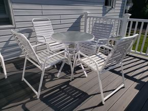 Lot 004 PP-PICK UP AT TAG SALE Lot of 9 Outdoor Patio Furniture Glass Round Dining Table 27.5H x 50.5W/ 4Armchairs 34H x 22.375W x 20D/ 4 Side Glass Top Tables 18H x 16.5W x 16.5D  PICK UP IN WEST ISLIP, NY
