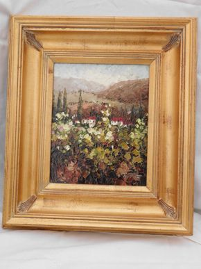 Lot 006 Framed Painting Signed 9.5H x 7.5W PICK UP IN CENTERPORT