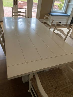Lot 004 Farm Style Dining table white 84in L X 44in W X 40in H PICK UP IN GARDEN CITY 1