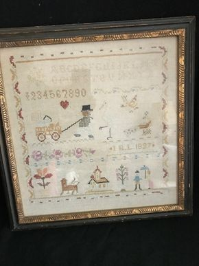 Lot 141 Antique Needle Point Sampler 16 x 17 PICK UP IN GARDEN CITY