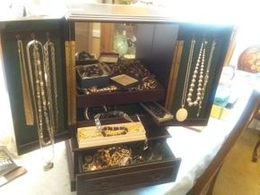 Lot 073 Lot Of Costume Jewelry Including Chest PICK UP IN WEST HEMPSTEAD