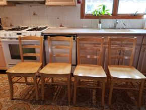 Lot 002 Lot of 4 Wood Dining Chairs 35H x 17W x 15.075L PICK UP IN WHITESTONE, NY