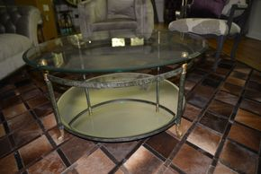 Lot 006 ARHAUS Coffee Table Glass/Mirror 18.5H x 42W  PICK UP IN PORT WASHINGTON,NY