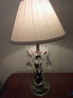 Lot 016 Pair Of Cherub Crystal Table Lamps 19 Inches Tall PICK UP IN WESTBURY