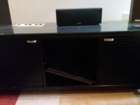 Lot 069 Entertainment Center With Glass Top 27H x 20w x 66.5L PICK UP IN OLD WESTBURY