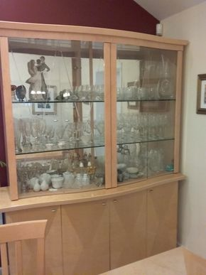 Lot 002 Italian Made China Cabinet With Glass Doors two Pieces 84.5H x 19W  67L PICK UP IN OCEANSIDE